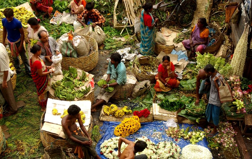 Vue sur Mulik, le marché aux fleurs de Calcutta